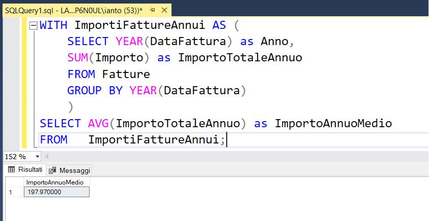 Immagine con codice SQL contenente una CTE