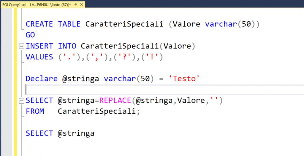 Esempio di utilizzo della funzione SQL replace per eliminare caratteri speciali