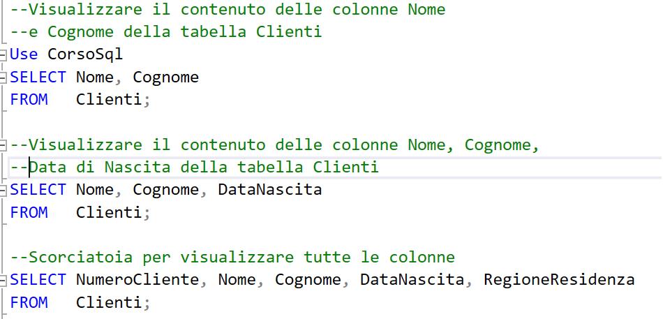 Esempio di codice SQL