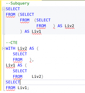 formattazione codice con CTE e sub query